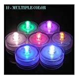 Bright LED Battery Operated Flameless Tea Light, Submersible Tea Candle Waterproof Decorations Underwater Vase Light for Party and Wedding, Pack of 12, Multi-Color