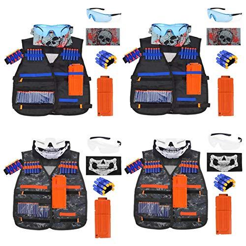 POKONBOY Compatible Nerf Vest Party Supplies - 4 Sets Tactical Vest Kits Compatible Nerf Guns N-Strike Elite Series Toys for Boys Nerf Party Favors Nerf War