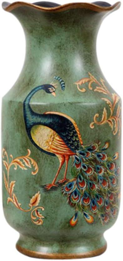 """FixtureDisplays Porcelain Vase Peacock Decor Vase Vintage Look Vase China Vase Ceramic Vase 13"""" 15007-NF No"""