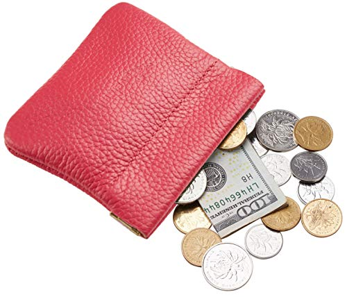 - Travelambo Leather Squeeze Coin Purse Pouch Change Holder For Men & Women (Pebble Red Rose)