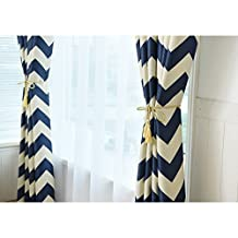 """Window Curtains Soundproofed Blackout Ring Top White Blue Stripes Bedroom Drapes 2 Panels52""""W*96""""L"""