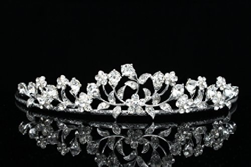 Floral Leaf Bridal Wedding Tiara Crown - Clear Crystals Silver Plating T645
