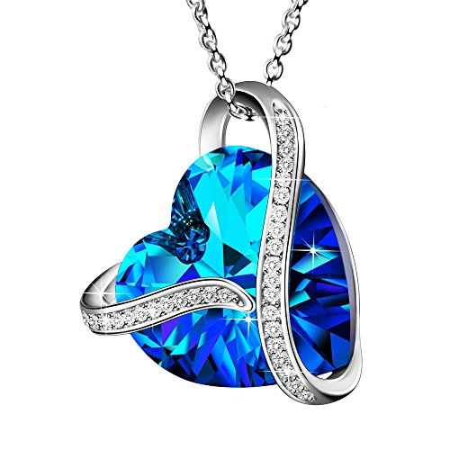 Angemiel Made with Swarovski Crystals Heart of The Ocean 925 Sterling Silver Blue Heart Pendant Necklace Gift ()