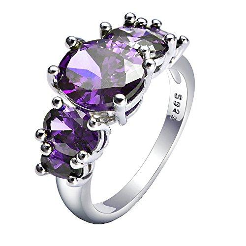 WIBERN 14K Platinum Plated 5 Amethyst Stone Shine CZ Charm Wedding Rings for Women (Purple, 8)