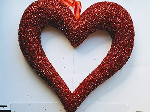 Price comparison product image THREE apx 18 inch Styrafoam 3-D hearts with glitter adhered to them and flat on back 1 Rosy pink and 2 red MSRP 24.97 for 3