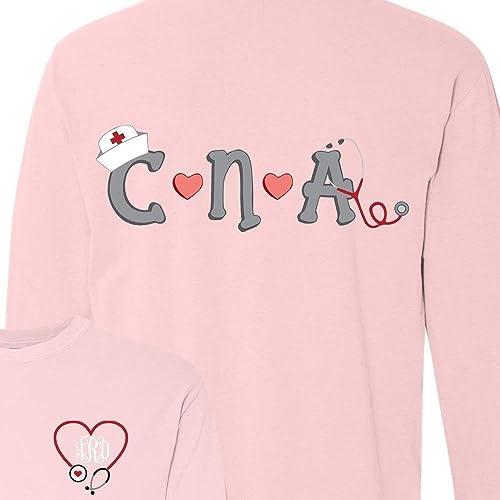 4589e7820007 Amazon.com  Monogrammed CNA Nurse Shirt  Handmade