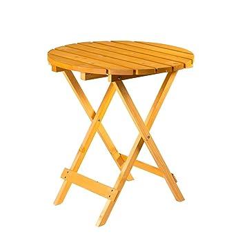 Table ronde pliante en bois pour jardin - Table d\'appoint de jardin ...