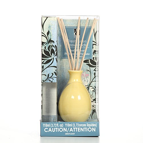 Hosley Aromatherapy Deal Linen Scent Diffuser Oil with Ceramic Bottle Plus Reed Sticks All in One! 110 Milliliter Ideal Gift for Weddings, Spa, Reiki, Meditation, Bathroom O4