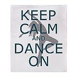 CafePress - Keep Calm And Dance On Teal - Soft Fleece Throw Blanket, 50''x60'' Stadium Blanket