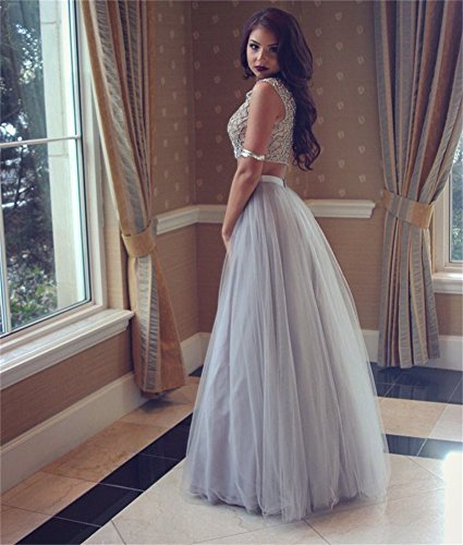 Dresses Picture Tulle Colour Evening Long Beaded Pieces Prom Cloverdresses Two Sequined Gowns wqAzz41
