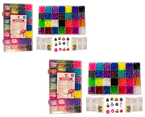 2 Pack of 8400 Band MEGA Box Rainbow Braid Loom Refill Set - US Lab Tested for Toxins - 28 Colors, 12 Charms & 500 Clips (Rainbow Loom C Clips Only compare prices)