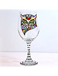 Owl Hand Painted Wine Glass Single Or Pair