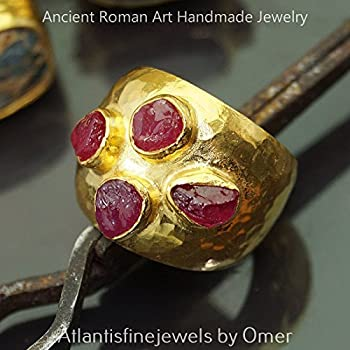 Bold Collection Rough Ruby Large Hammered Ring Handmade 925 k Fine Silver By Omer Roman Art Jewelry