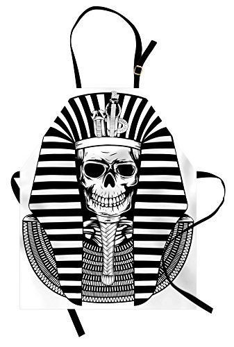 Ambesonne King Apron, Egyptian Pharaoh Ruler Mummy Skull Skeleton for Egypt Lovers Print, Unisex Kitchen Bib Apron with Adjustable Neck for Cooking Baking Gardening, Black and White]()