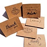 36 PCS Thank You Notes Cards with Envelope and Stickers Set, Kraft Paper Greeting Cards 6 Designs for Thanksgiving Day, Valentine's Day, Mother's Day, Weddings, Parties, Festive Gatherings, and More