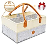 Baby Diaper Caddy Organizer | Nursery Storage Bin | Sturdy Diaper Caddy Storage Bin for Changing Table | Baby Shower Gift Basket Boys Girls | Newborn Registry Must Have | Large Portable Car Travel Bag