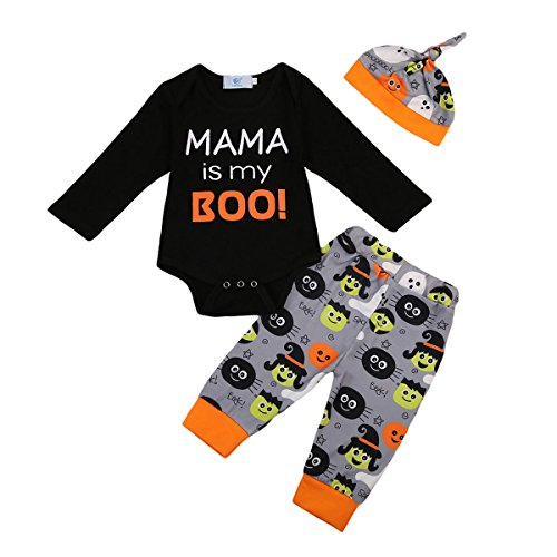 Unisex Baby Boys Girls Halloween Party Outfit Set MAMA is my boo! Bodysuit and Witch Pants with Hat (9-12M, (Halloween Baby Outfits)