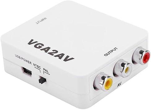 Bewinner1 Convertidor de VGA a AV, Adaptador de convertidor de Video portátil de PC a TV