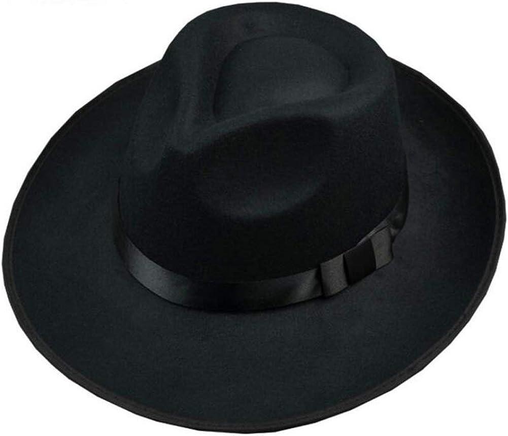 1PCS Black Mens Retro Classic Wide Brim Elegant Wool Blend Fedora Hat Brim Flat Church Derby Cap Trilby Caps Panama Hat Jazz Hat