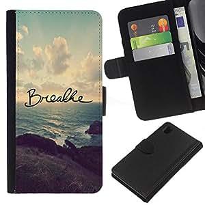Sony Xperia Z1 L39 C6902 C6903 C6906 C6916 C6943 , la tarjeta de Crédito Slots PU Funda de cuero Monedero caso cubierta de piel ( Breathe Yoga Inspiring Message Sunset)