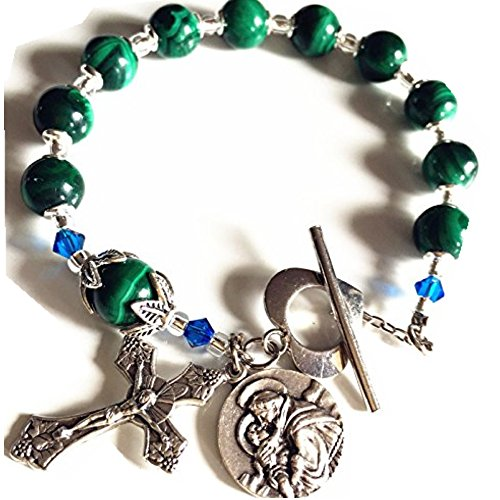 elegantmedical Rosary UNDOUBTED Malachite Beads Bracelet Cross Sterling Silver Flower Travel