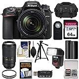 Nikon D7500 Wi-Fi 4K Digital SLR Camera & 18-140mm VR DX with 70-300mm AF-P VR Lens + 64GB Card + Battery + Case + Tripod + Flash + Filters + Kit
