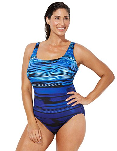 swimsuitsforall Women's Plus Size Longitude Chlorine Resistant X-Back Swimsuit 22 Multi