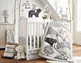 Levtex Baby Bailey Charcoal and White Woodland Themed 5 Piece Crib set, Bedding Set, Quilt, 100% Cotton Crib Fitted Sheet, 3-tiered Dust Ruffle, Diaper Stacker and Large Wall Decals