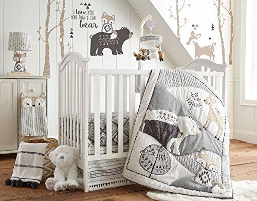 Levtex Baby Bailey Charcoal and White Woodland Themed 5 Piece Crib Bedding Set, Quilt, 100% Cotton Crib Fitted Sheet, 3-tiered...