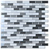 "tile bathroom wall Art3d Peel and Stick Wall Tile for Kitchen/Bathroom Backsplash, 12""x12"", Grey-White (6 Pack)"