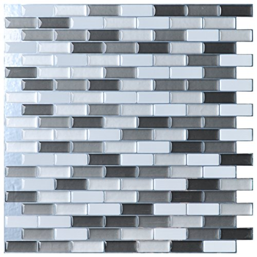 "Peel and Stick Wall Tile for Kitchen/Bathroom Backsplash, 12""x12"", Grey-White (6 Pack)"