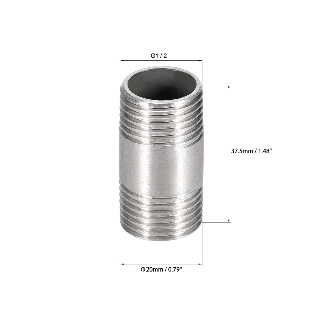 Stainless Steel 304 Cast Pipe Fittings Coupling Fitting 1//2 x 1//2 G Male 3pcs