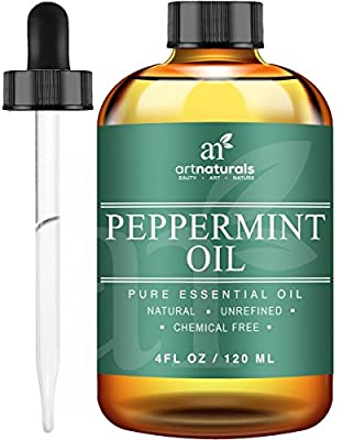 ArtNaturals Pure Peppermint Essential Oil - 4 Fl Oz - Pure and Natural Premium Therapeutic Grade Mentha Peperita Essential Oil - Fesh Scent for Home and Work, Perfect to Repel Mice and Spiders