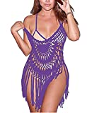 CXINS Women's Sexy Lace Bathing Suit Handmade Crochet Tassel Bikini Cover Up Swimwear Summer Beach Dress Size L Purple