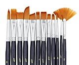 Paint Brushes, Laniakea® 12pcs Paint Brush Set for Watercolor/Oil/Acrylic/Crafts/Rock & Face Painting(Black)