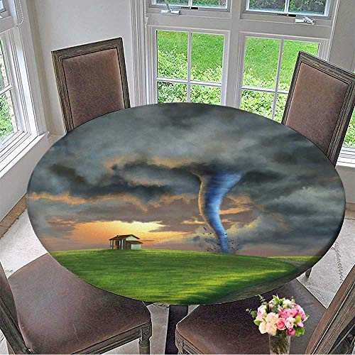 (Mikihome Round Premium Tablecloth Tornado Sweeping Through a Country Landscape at Sunset Digital Stain Resistant 50