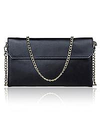 S-ZONE Women's Genuine Leather Evening Envelope Clutches Handbags Shoulder Bag (Black)