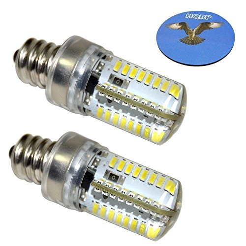 HQRP 2-Pack E12 Candelabra Base LED Bulb Warm White AC 110V for Whirlpool 22002263 Refrigerator/Dryer Light Bulb Replacement Plus HQRP Coaster ()