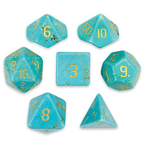 Turquoise Magnesite - Wiz Dice Set of 7 Handmade Stone 16mm Polyhedral Dice with Velvet Pouch by (Turquoise Magnesite)