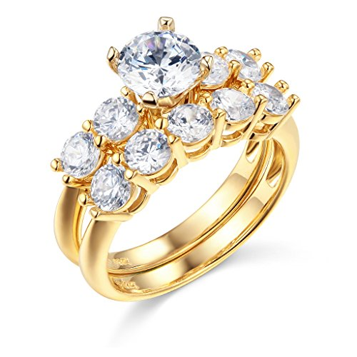 14k Yellow Gold SOLID Engagement Ring and Wedding Band 2 Piece Set
