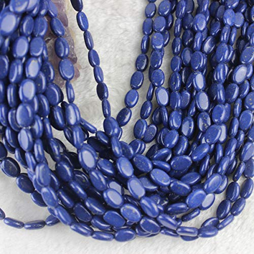 Gemstone Oval Pendant Bead - 8x12mm Oval Lapis Lazuli Beads Loose Gemstone Beads for Jewelry Making Strand 15 Inch (34pcs)