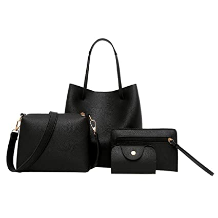 a83d7b7814 Elogoog Fashion Women s Satchel PU Leather Handbag+Shoulder Bag+Purse+Card  Holder 4pcs