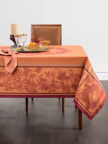Benson Mills Harvest Royalty Engineered Yarn Dyed Jacquard Tablecloth, 60 by 120-Inch (Thanksgiving Cloths Table)
