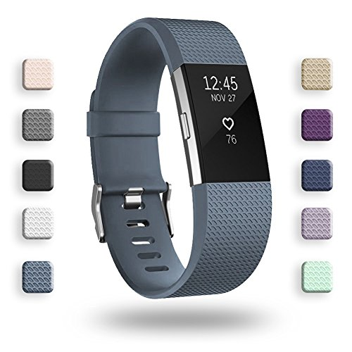 POY Replacement Bands Compatible for Fitbit Charge 2, Classic & Special Edition Sport Wristbands, Small Blue with Gray, 1PC