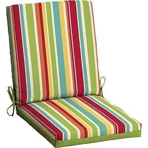 Tela de poliéster Cojín de silla de comedor de patio, Outdoor, Mulit de rayas