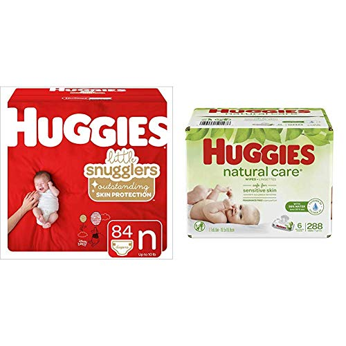 Huggies Brand Bundle - Huggies Little Snugglers Diapers, Size Newborn, 84 Ct & Huggies Natural Care Unscented Baby Wipes, Sensitive, 6 Disposable Flip-Top Packs - 288 Total Wipes (Packaging May Vary)