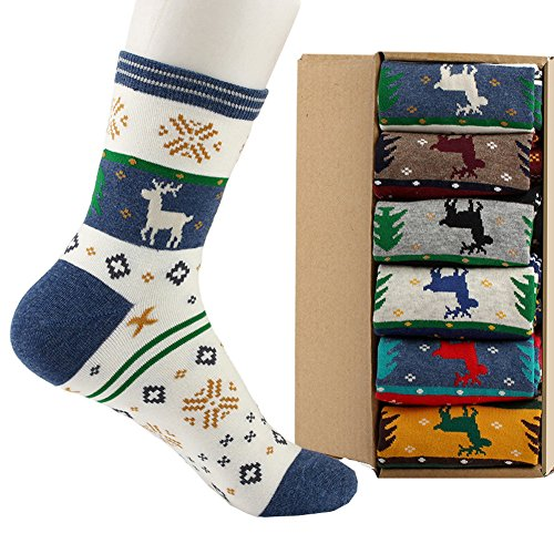 Sherry007 Christmas Deer Snowflake Fashion Combed Cotton Crew Socks Pack of 6