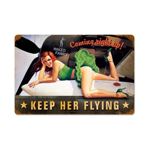 Tin Sign Flying (Keep Her Flying Vintage Metal Sign PinUp Girl Military Rosie 18X12 Steel Not Tin)