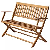 BLXCOMUS Outdoor Patio Folding Garden Bench Solid Acacia Wood Chair Seating With Armrests For 2 Persons 47.2'' x 23.6'' x 35'' (W x D x H)
