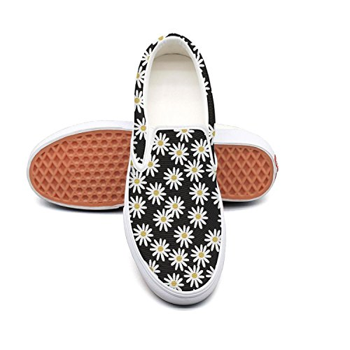 Uieort Daisy On Black Background Womens Slip On Canvas Shoes Rubber Sole -